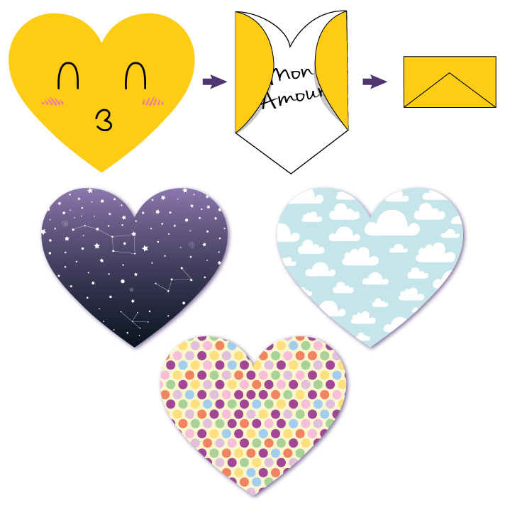 Cartes coeurs surprises à imprimer et à plier